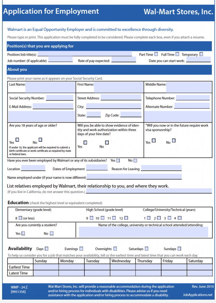 Wal Mart Job Application (Adobe PDF)
