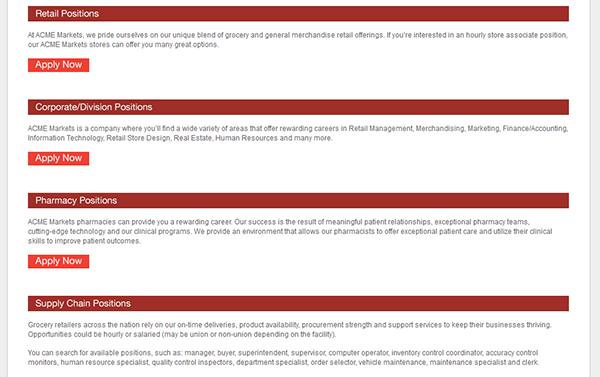 Acme Markets Job Application - Apply Online