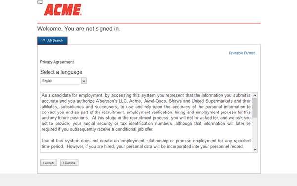 acme online application - 3