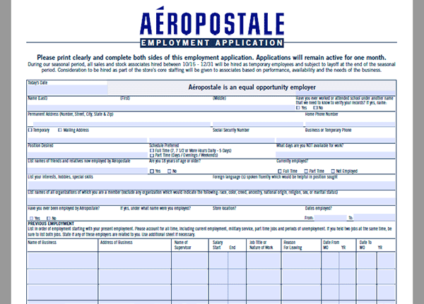 photo about Aeropostale Application Printable named Aéropostale Undertaking Computer software - Adobe PDF - Implement On the internet