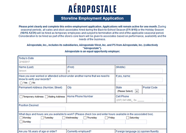 photograph regarding Aeropostale Application Printable named Aéropostale Endeavor Software program - Adobe PDF - Implement On the web