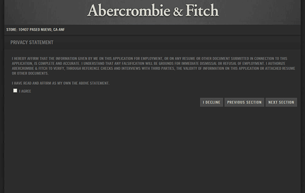 abercrombie and fitch resume