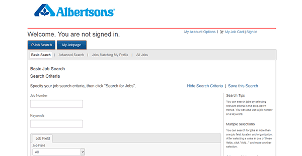 albertsons job application
