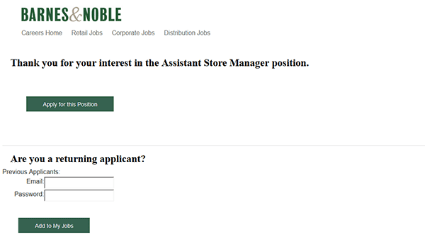 Barnes Noble Job Application Apply Online