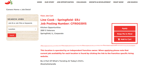 Chili's Job Application - Apply Online