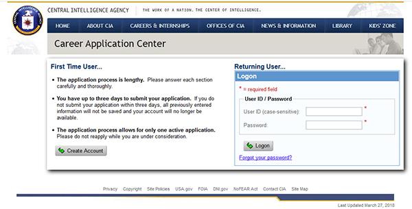 CIA Job Application - Apply Online