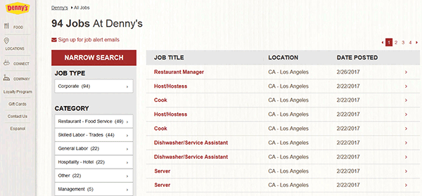 Denny's Job Application Online. Everyone knows and loves Denny's. That's probably because you never fail to find one ready to serve, wherever you are, whenever you need it. The same goes for hiring employees – it you are a friendly individual who is passionate about helping others, your local restaurant is ready to receive your Denny.