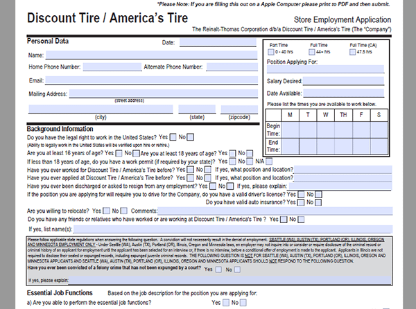Discount Tire Job Application - Adobe PDF - Apply Online