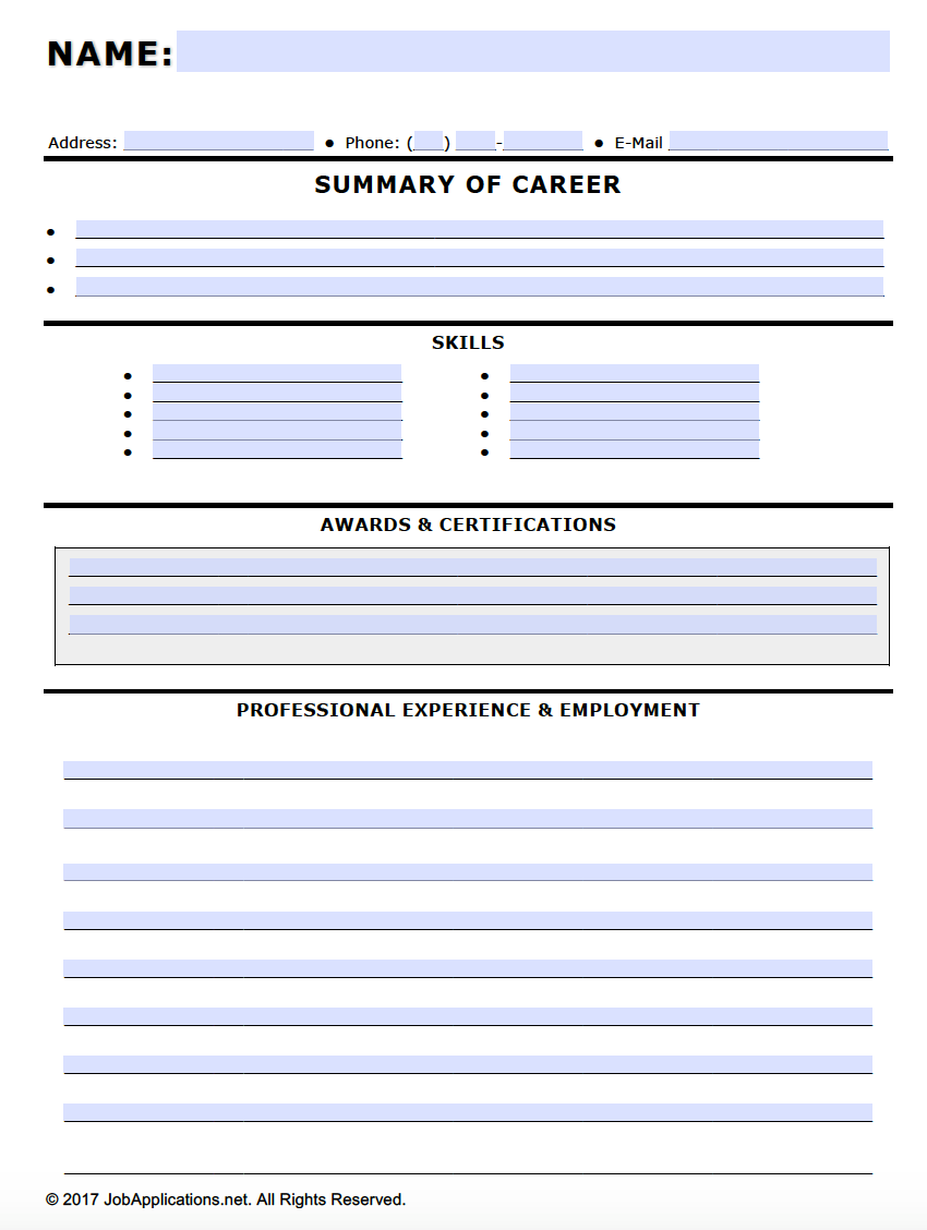 Fillable Job Application Resume Template