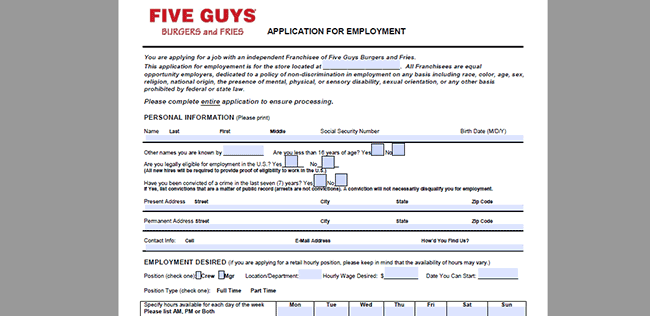 Five Guys Burger And Fries Job Application Adobe Pdf Apply Online