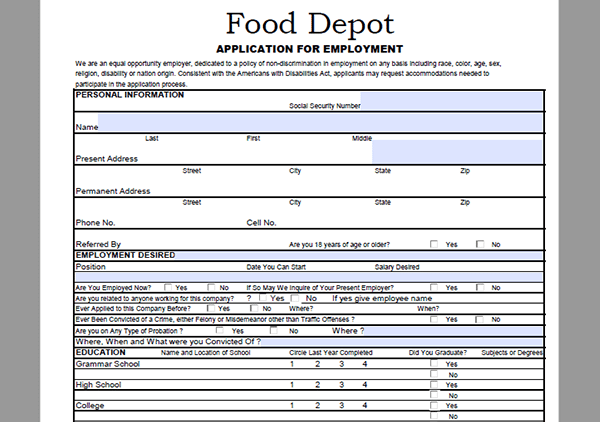 food-depot-app Job Application Former Employer on forms fill out, cover letter, sample completed, free sample, clip art,