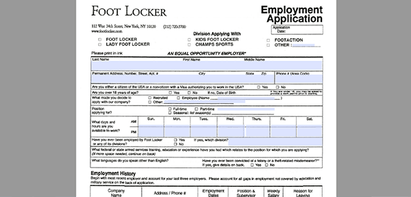 footaction job application - adobe pdf
