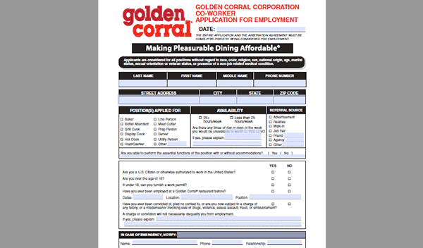 golden corral job application - adobe pdf