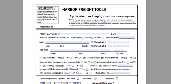 harbor-freight-app Online Job Application Form For Cvs on olive garden, taco bell, pizza hut, apply target, print out,