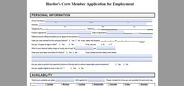 picture relating to Printable Job Application Pdf titled Hardees Undertaking Software package - Adobe PDF - Put into action On-line