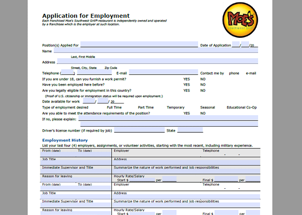 Moes Southwest Grill Job Application Adobe Pdf Apply Online
