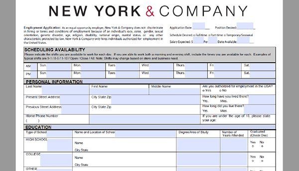 new-york-company-application Job Application Form For Wegmans on part time, free generic, big lots, blank generic, sonic printable,