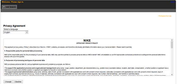 Burma La nostra azienda Sensazione  Nike Factory Outlet Job Application - Apply Online