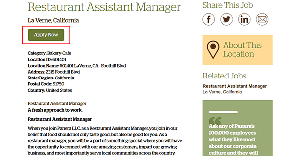 Panera Bread Job Application Apply Online