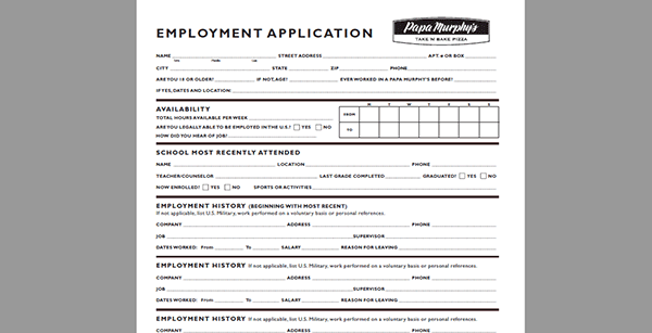 papa-murphys-app Job Application Form Poundland on free generic, blank generic, part time,