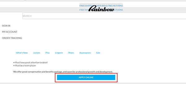 rainbow shops job application