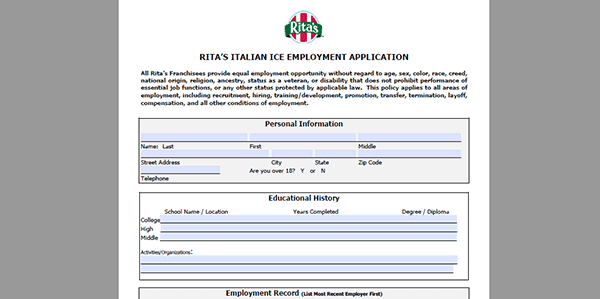 Ritas Job Application Adobe Pdf Apply Online