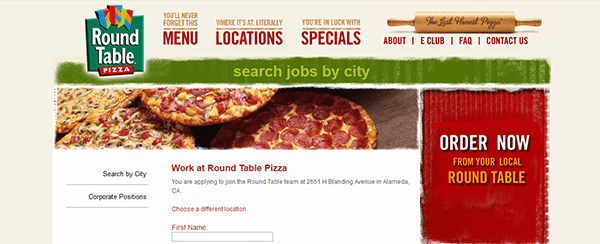 Round Table Jobs.Round Table Pizza Job Application Apply Online