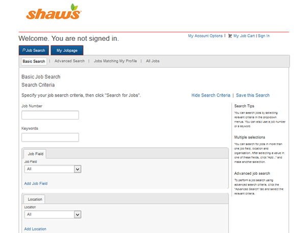 Shaws Job Application Apply Online