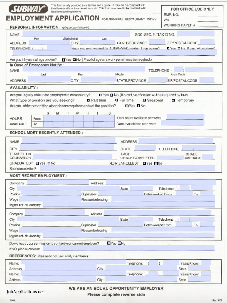 graphic about Printable Job Applications for Subway titled Subway Endeavor Computer software - Adobe PDF