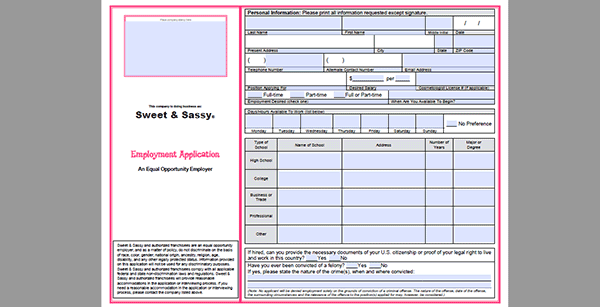 Sweet Sassy Job Application Adobe Pdf