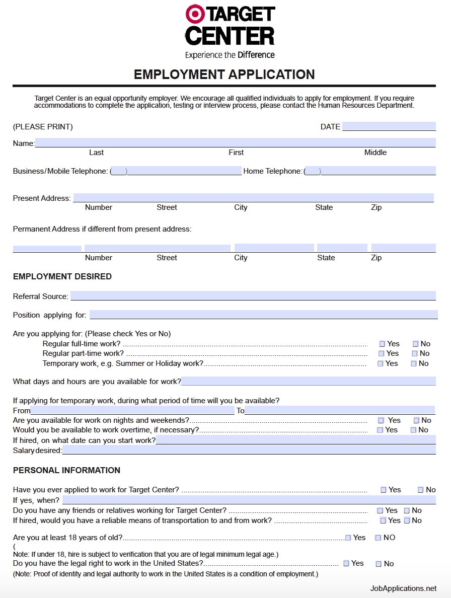 Job Applications | Target Stores Job Application Form Usa Adobe Pdf Jobapplications Net