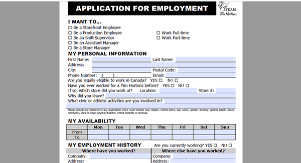 tim hortons job application - adobe pdf