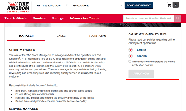tire kingdom job application apply online
