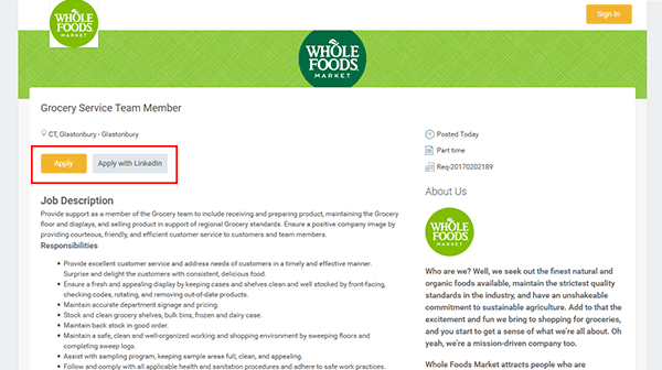 Whole Foods Application Portal
