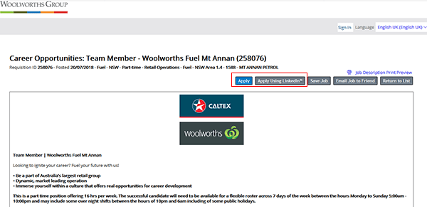 Woolworths Job Application Apply Online